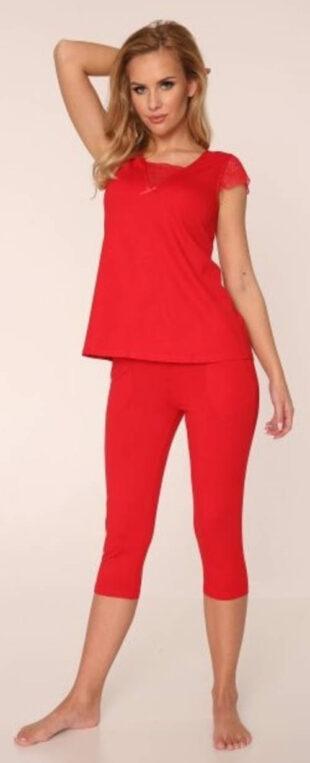 Egyszínű női capri pizsama