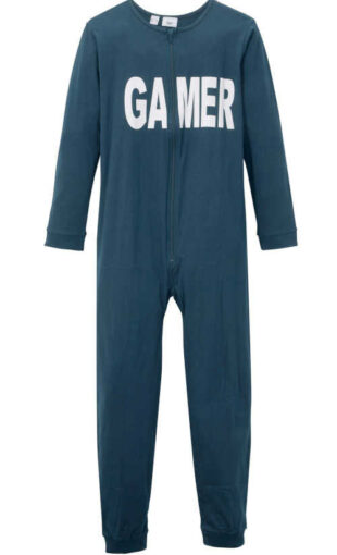 Fiú hosszú pamut pizsama overall felirattal