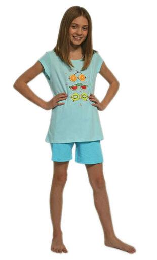 Lányok modern pizsama minőségi pamutból, nyomtatással az elején.