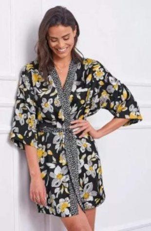 Rövid szatén női virágos kimonó