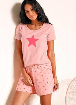 2 darabos női pizsama készlet rövidnadrággal és modern nyomtatással